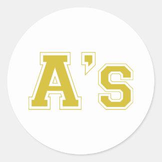 A's square logo in gold classic round sticker