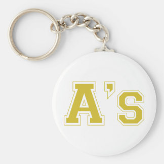 A's square logo in gold keychain
