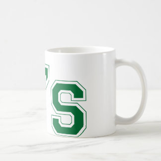 A's square logo in green coffee mug