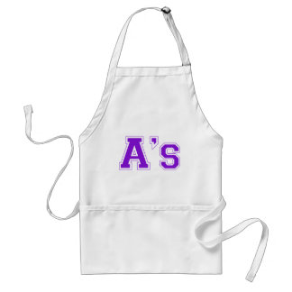 A's square logo in purple adult apron