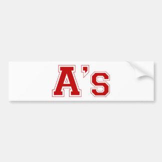 A's square logo in red car bumper sticker