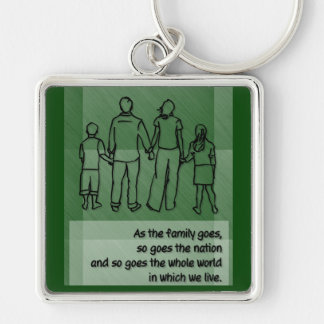 As the family goes ... Pope John Paul II Silver-Colored Square Keychain