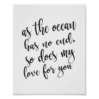 As The Ocean Has No End Beach Wedding 8x10 Sign