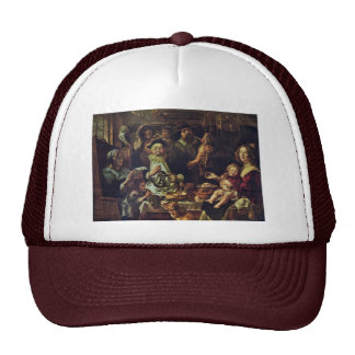 As The Old Sing So Pipe The Young By Jordaens Jaco Hats