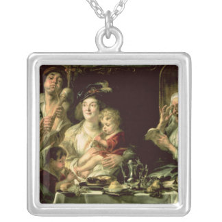 As the Old Sing, so the Young Pipe, 1638 Silver Plated Necklace