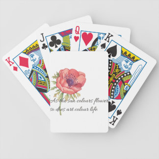 As the sun colours flowers bicycle playing cards