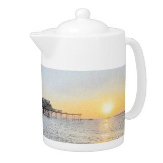 As the Sun Goes down over Aberystwyth Pier Teapot