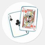 As y tarjetas del póker de Jack Pegatina Redonda