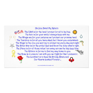 As You Await My Return  Freedom Poem with Graphics Personalized Photo Card
