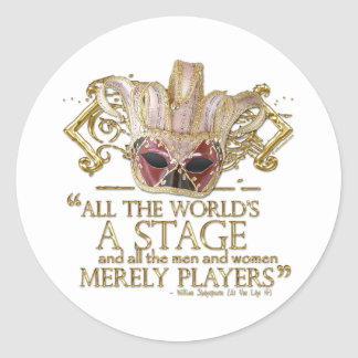 As You Like It Stage Quote (Gold Version) Classic Round Sticker