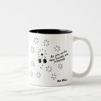 'As you write, new worlds are created' mug