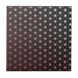 Asa No Ha - red on black Tile