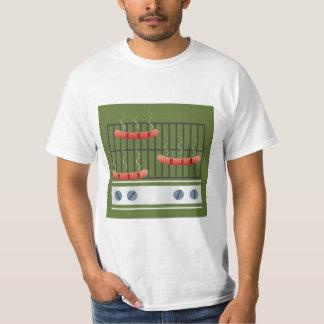 Asado a la parilla de la camiseta de los hombres playeras