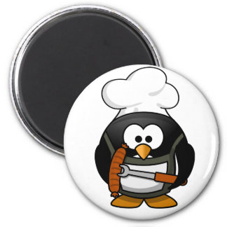 Asado a la parilla del imán del pingüino