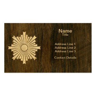 Asahiko Kamon Japanese Family Crest Wood Veneer Double-Sided Standard Business Cards (Pack Of 100)