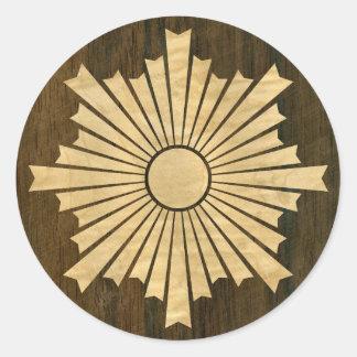 Asahiko Kamon Japanese Family Crest Wood Veneer Classic Round Sticker