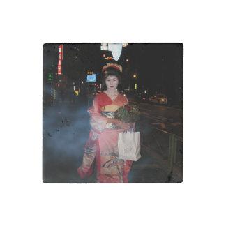 Asakusa Geisha Neo Tokyo Stone Magnet