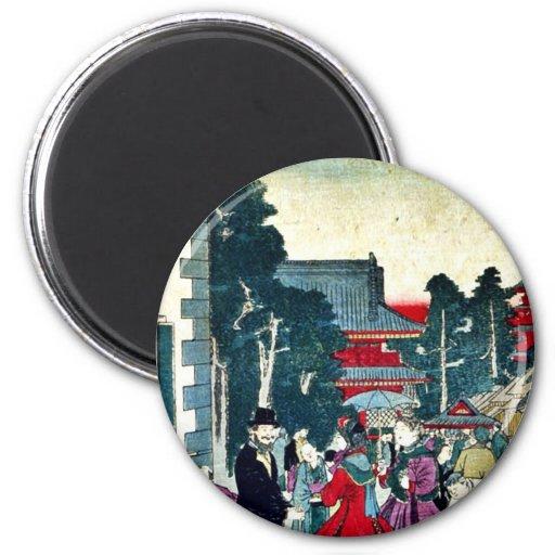 Asakusa, oficina del telégrafo por Utagawa, Kunite Imán Redondo 5 Cm