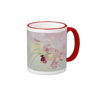 Asalte, 18oz en un diseño de la orquídea del taza a dos colores
