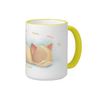 Asalte el cup_Cat_Slow abajo y disfrute de su vida Taza De Dos Colores
