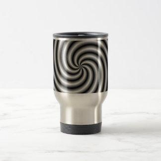 Asalte el remolino en blanco y negro taza de viaje