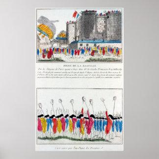 Asalto del Bastille en la Revolución Francesa Póster