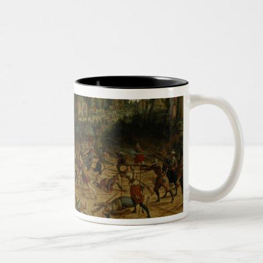 Asalto en una ciudad (aceite en lona) taza de café de dos colores