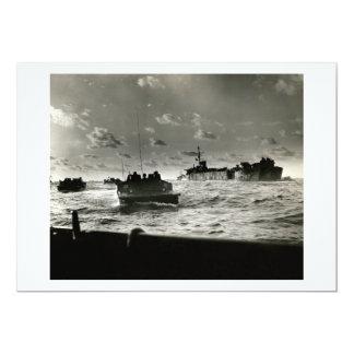 """Asalto Iwo Jima de los infantes de marina de WWII Invitación 5"""" X 7"""""""