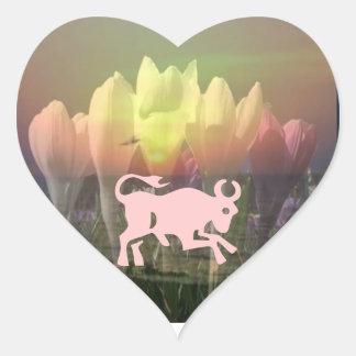 Asamblea del ZODIACO STBX - tema floral de la Pegatina En Forma De Corazón