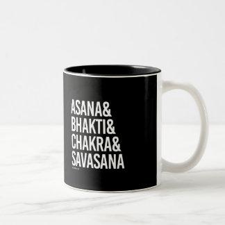Asana and Bhakti and Chakra and Savasana -   Yoga  Two-Tone Coffee Mug