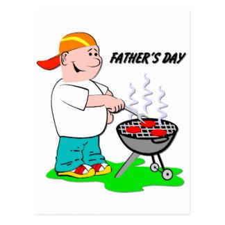 Asando a la parrilla al papá - el día de padre postal