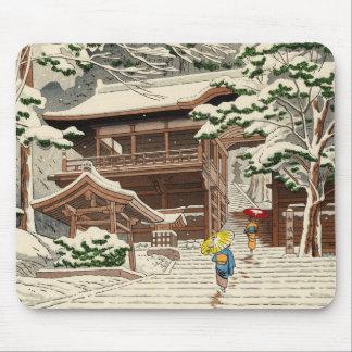 Asano Takeji Snow in Yuki Shrine shin hanga art Mouse Pad