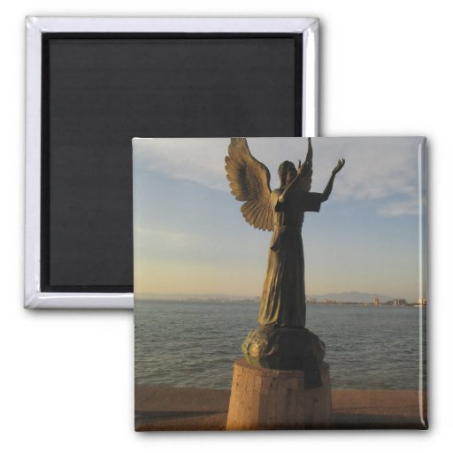 ASAS Angel Statue at Sunset 2 Inch Square Magnet