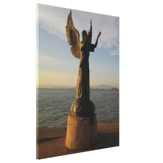 ASAS Angel Statue at Sunset Canvas Print