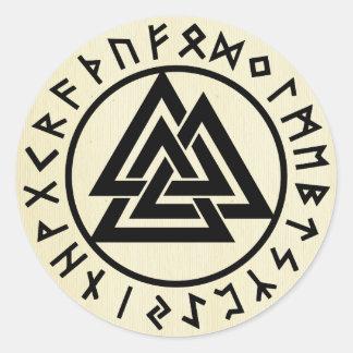 Asatru, vieja religión de los nórdises, símbolos, pegatina redonda
