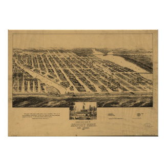Asbury Park New Jersey 1881 Antique Panoramic Map Poster