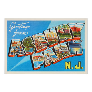 Asbury Park New Jersey NJ Vintage Travel Postcard- Poster