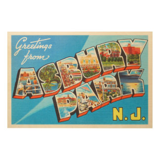 Asbury Park New Jersey NJ Vintage Travel Postcard- Wood Wall Decor
