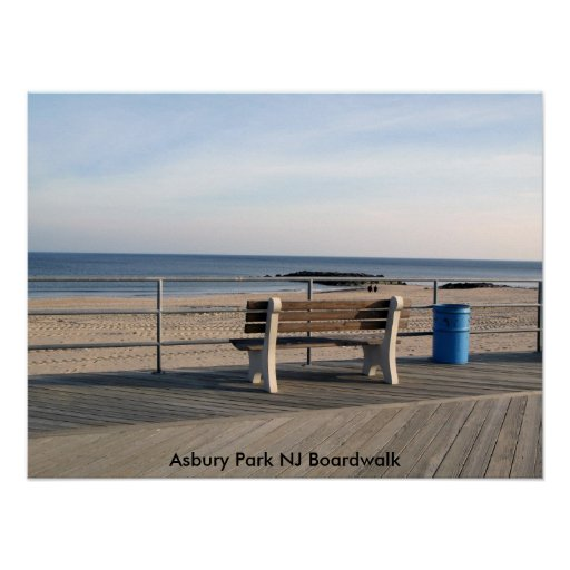 Asbury Park NJ Boardwalk - Bench Poster | Zazzle