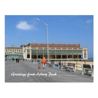 Asbury Park NJ Boardwalk - Man walking dog Postcard