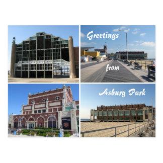 Asbury Park NJ landmarks and boardwalk, Greetin... Postcard