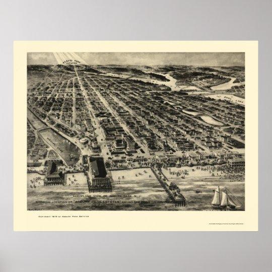 Asbury Park, NJ Panoramic Map - 1910 Poster
