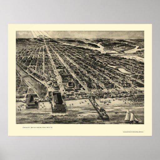 Asbury Park, NJ Panoramic Map - 1910 Posters