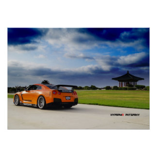"""Ascend"" Nissan GT-R R35 Bursting Through Poster"