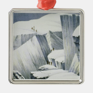 Ascending a Cliff, from 'A Narrative of an Ascent Metal Ornament