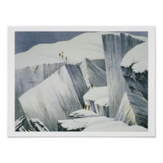 Ascending a Cliff, from 'A Narrative of an Ascent Poster