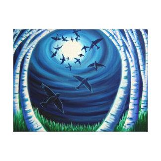 Ascending - Print- moon, birds, trees Canvas Print