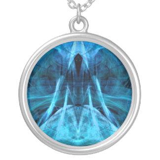 Ascending Spirit Aqua Sterling Plate Necklace