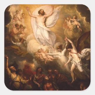 Ascensión de Cristo con ángeles Pegatina Cuadrada