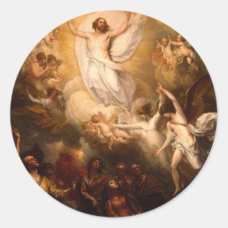 Ascensión de Cristo con ángeles Pegatina Redonda